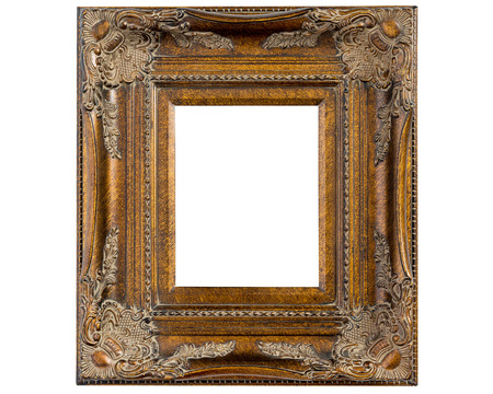 ornately: One gold colored ornately decorated empty picture frame isolated on white Stock Photo