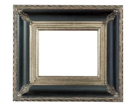 ornately: One fancy, ornately decorated, empty picture frame isolated on white background.