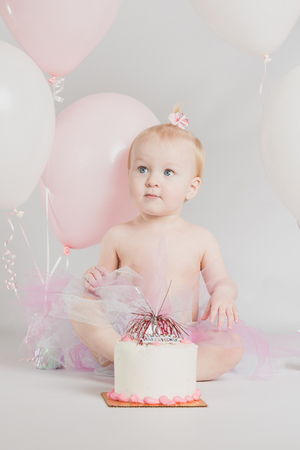 1: One year old girl birthday portraits with smash cake