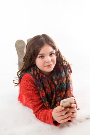 pre teen girl: Cute, fun, and stylish caucasian tween girl