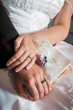 newly: Bride and groom hold hands. Newly weds.