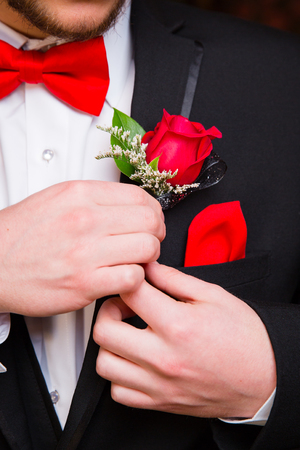 Prom Formalwear Detail of Bow Tie and Boutonniere Фото со стока