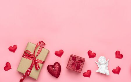 Romantic decoration on pink background Top view Flat lay Happy Valentines day, birthday, Womens day concept Holiday card Place for text Love in the air.