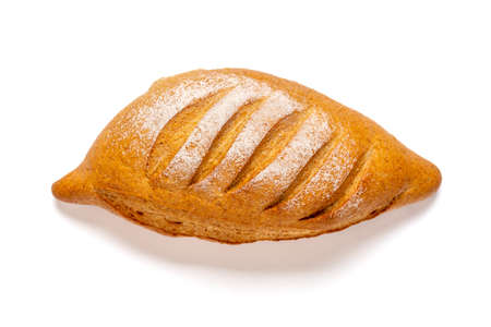 reshly baked sourdough bread on napkin from oven isolated on white background Top view Flat lay Homemade pastry.