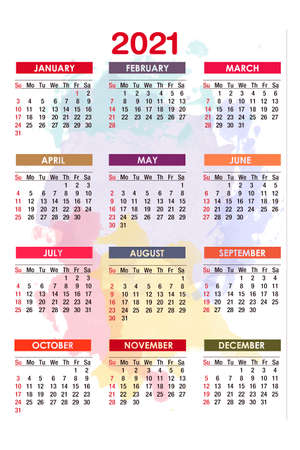 Calendar for new 2021 year on pastel colorful background.