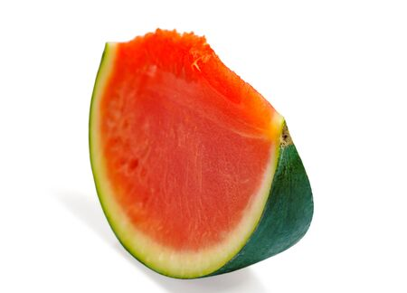 Isolated watermelon with cut watermelon slice with red flesh on white background
