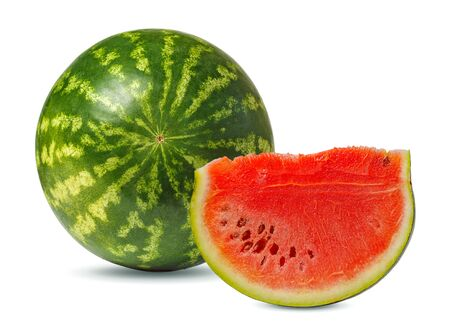 Isolated round striped watermelon on white background. Ripe round watermelon and cut watermelon slice with red pulp