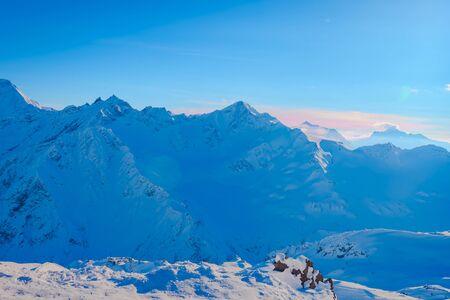 Snow-covered beautiful mountains of Elbrus, the mountain landscape of the North Caucasus. Russia, Kabardino-Balkaria 版權商用圖片