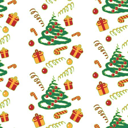 Christmas tree pattern with gifts. Christmas background. Vector illustration. Pattern with Christmas theme.