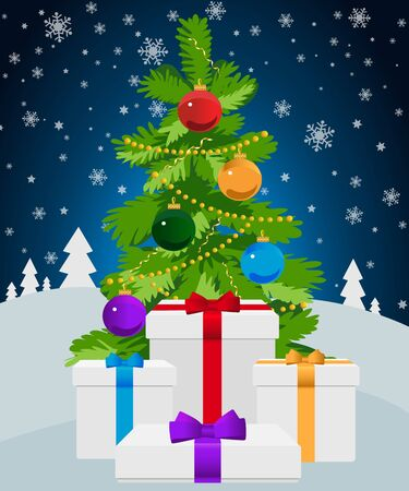 Christmas tree with gifts on a dark blue background with snowflakes. Vector illustration.