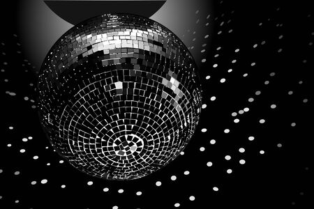 Disco ball on black background, black and white. Vector