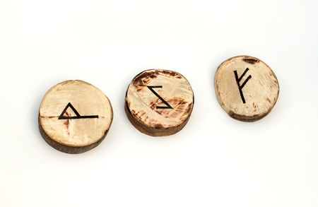 runes: Wooden runes Stock Photo