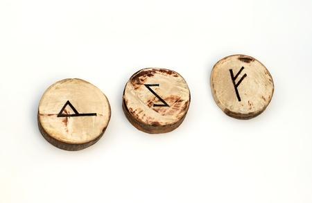 scandinavian peninsula: Wooden runes Stock Photo
