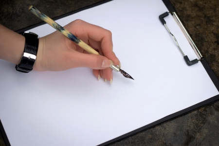 Drawing beginning, a feather on a clean sheet photo
