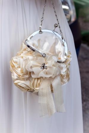 Open bridal purse and hair clip  photo