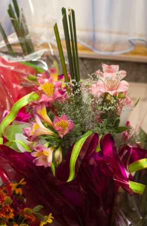 Farmers market fresh bouquets of colorful flowers photo