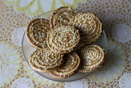 upperdeck view: Festive cookies with sesame to tea