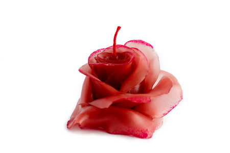 Red candle in the form of a rose on a white background photo
