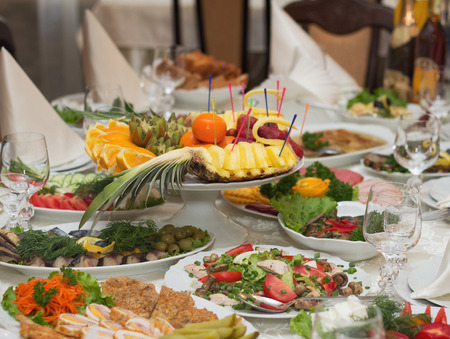 buffet lunch: Festive banquet table with celebrate food in restaurant Stock Photo