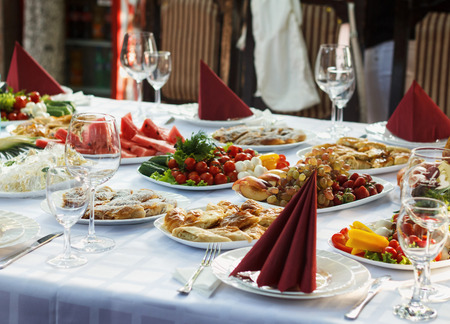 restaurant industry: Festive banquet table with celebrate delicios food in restaurant