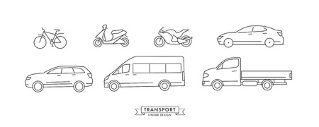 collection of linear means of transport with wheels