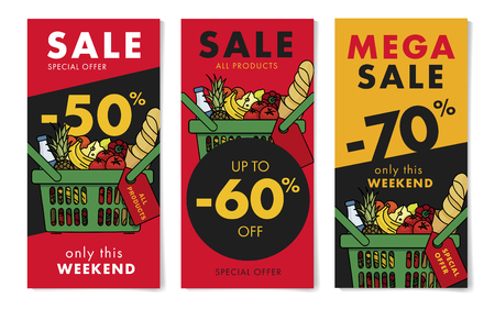 Flyers set for grocery store with sale advertising, with shopping basket full of meal goods, fresh food in linear graphic, leaflet with percentage os discount up to 50, 60 and 70 per cent