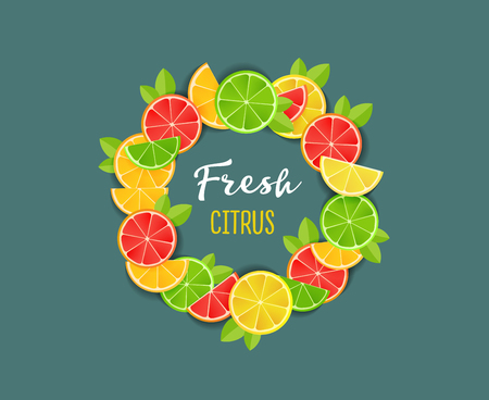Fresh citrus design composition with flat illustrations