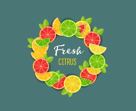 Fresh citrus design composition with flat illustrations