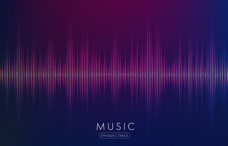 Forme abstraite de vagues de musique rougeoyant sur fond sombre