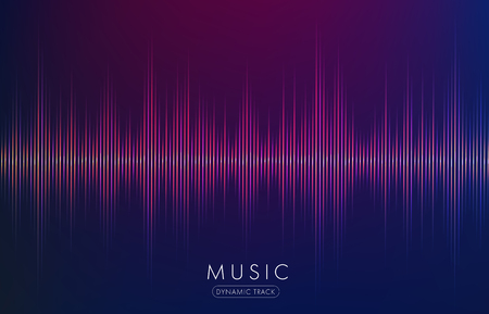 music waves abstract form glowing on dark background Ilustração