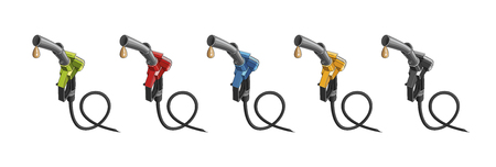fuelling nozzles in different colours with drop of fuel illustration