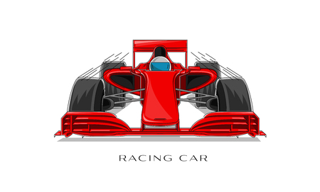 Racing sport car with driver linear illustration