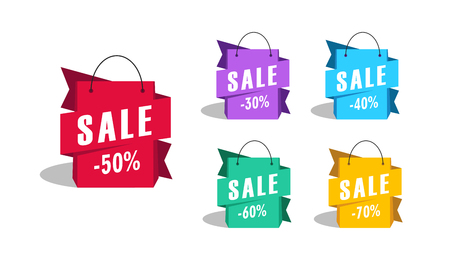 sale shopping bags as promotion tag with discount Stock Illustratie