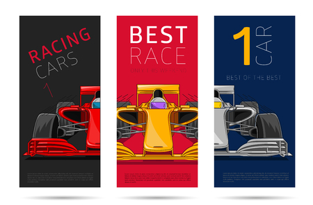 racing sport car flyer, set of three leaflets covers with typography and linear colored sport car illystration, front view Vettoriali