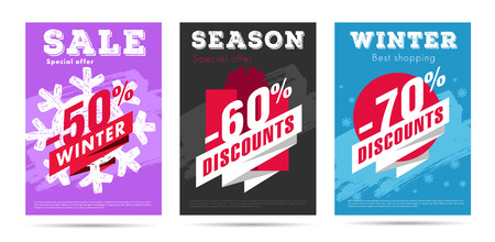 set of winter posters with per cent numbers and big typography