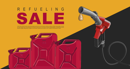 Poster for gas station with fuelling nozzel and oil canisters, template layout