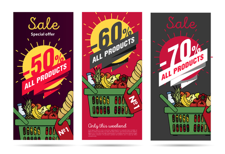 Products leaflets set with food basket and discount Illustration