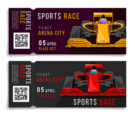 Race ticket with sport car illustration, with snapout part and QR code, ducat for car racing competition Ilustração