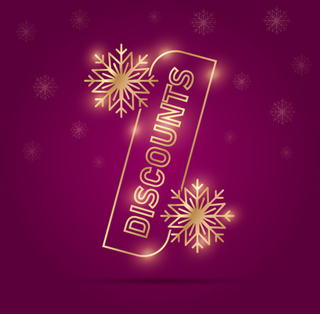 Discount banner with per cent sign in gold on rich pink backdrop with snowflakes Stock Illustratie