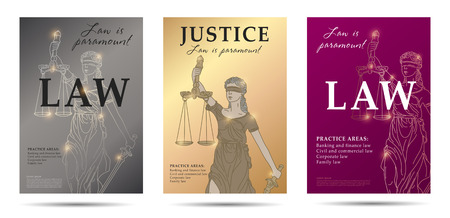 law set of posters with lady justice