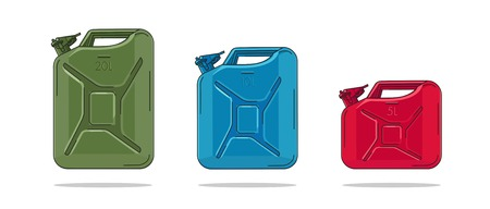 Oil Canisters illustration in different colors with litre numbers on each, isolated vector  イラスト・ベクター素材