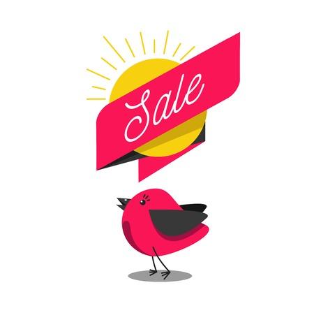 Ilustración de venta anticipada de barba con bonito pájaro de dibujos animados y pancarta con texto