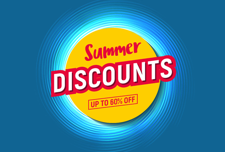 summer discounts up to 60 percents off, stylized sun on blue water Vektorové ilustrace