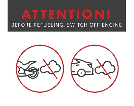 Attention switch off the engine poster for gas stations Ilustração