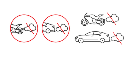 Before refueling,switch off the engine warning sign with vehicles and red circle Ilustração