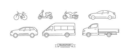 raccolta di icone di mezzi di trasporto lineari o illustrazioni con ruote