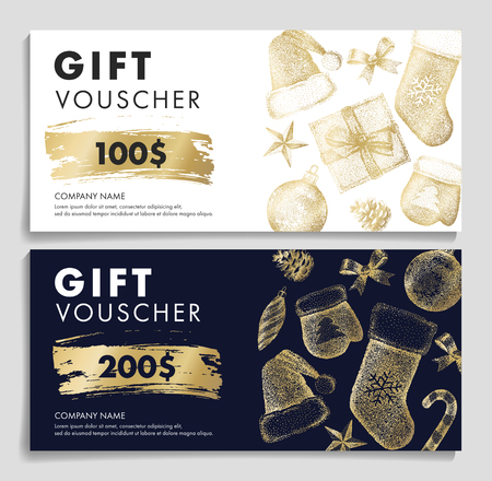 Gift voucher with Christmas pattern in golden colors on dark and white backgrounds, 2 options with sketch graphic and numbers Imagens - 122825723