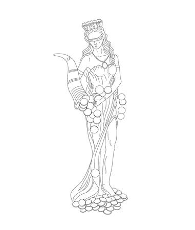 Fortuna-Göttinnen des Reichtums, des Geldes und des Vermögens lineare Illustration