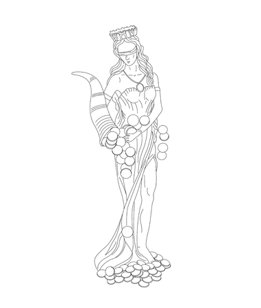 Fortuna goddes of wealth, money and fortune linear illustration