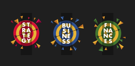 business finance strategy 3 graphic elements stylized typography on the targets